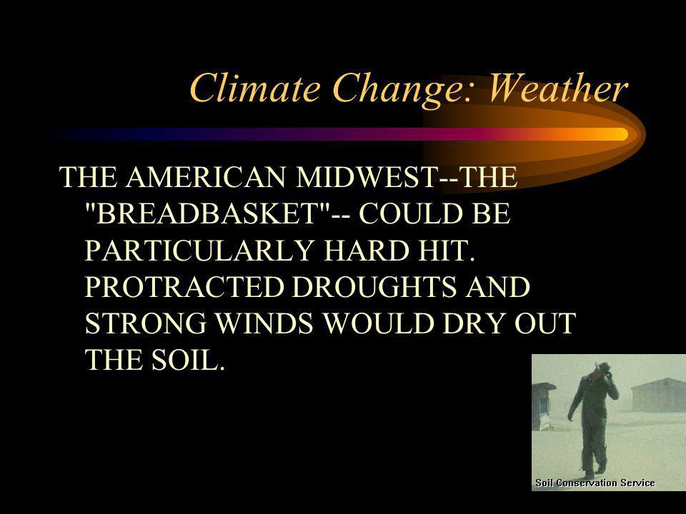 Climate Change: Weather THE AMERICAN MIDWEST--THE BREADBASKET -- COULD BE PARTICULARLY HARD HIT.