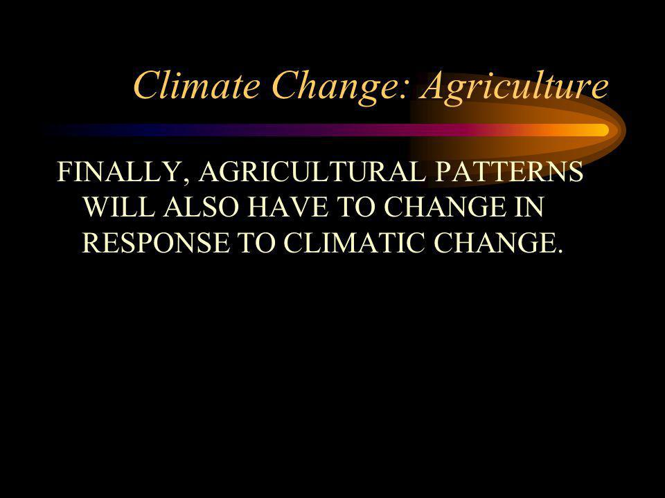 Climate Change: Agriculture FINALLY, AGRICULTURAL PATTERNS WILL ALSO HAVE TO CHANGE IN RESPONSE TO CLIMATIC CHANGE.