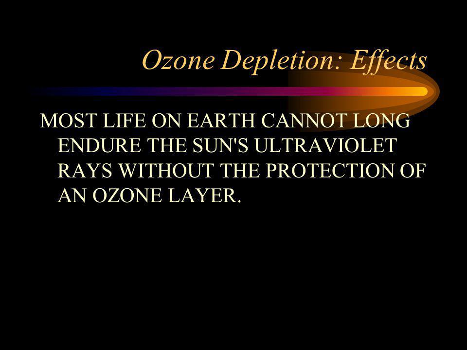 Ozone Depletion: Effects MOST LIFE ON EARTH CANNOT LONG ENDURE THE SUN S ULTRAVIOLET RAYS WITHOUT THE PROTECTION OF AN OZONE LAYER.