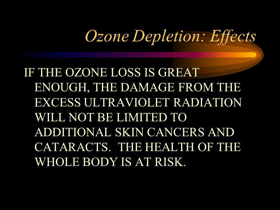 Ozone Depletion: Effects IF THE OZONE LOSS IS GREAT ENOUGH, THE DAMAGE FROM THE EXCESS ULTRAVIOLET RADIATION WILL NOT BE LIMITED TO ADDITIONAL SKIN CANCERS AND CATARACTS.