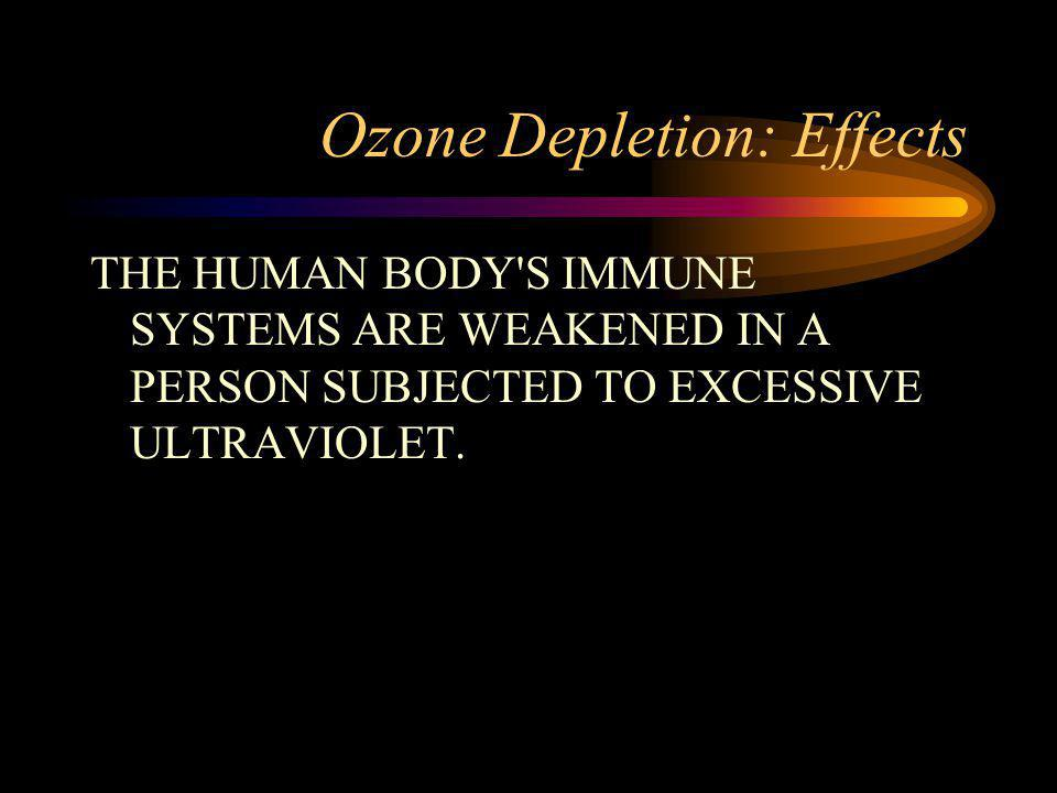 Ozone Depletion: Effects THE HUMAN BODY S IMMUNE SYSTEMS ARE WEAKENED IN A PERSON SUBJECTED TO EXCESSIVE ULTRAVIOLET.