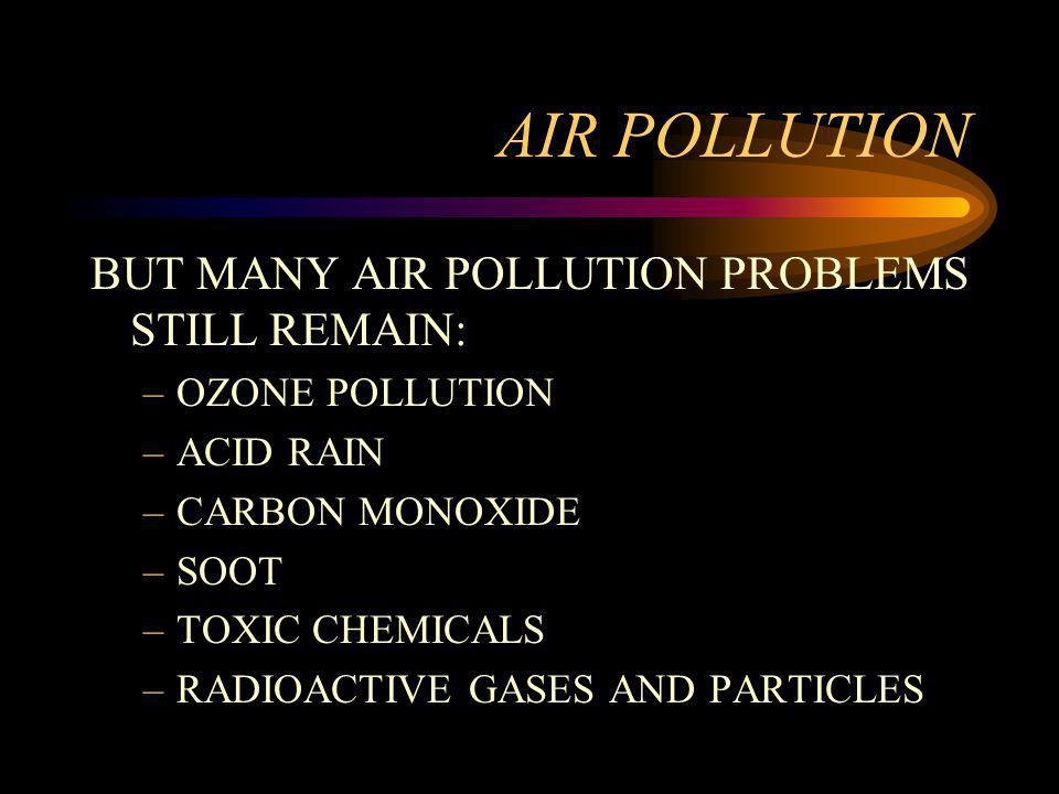 AIR POLLUTION BUT MANY AIR POLLUTION PROBLEMS STILL REMAIN: –OZONE POLLUTION –ACID RAIN –CARBON MONOXIDE –SOOT –TOXIC CHEMICALS –RADIOACTIVE GASES AND