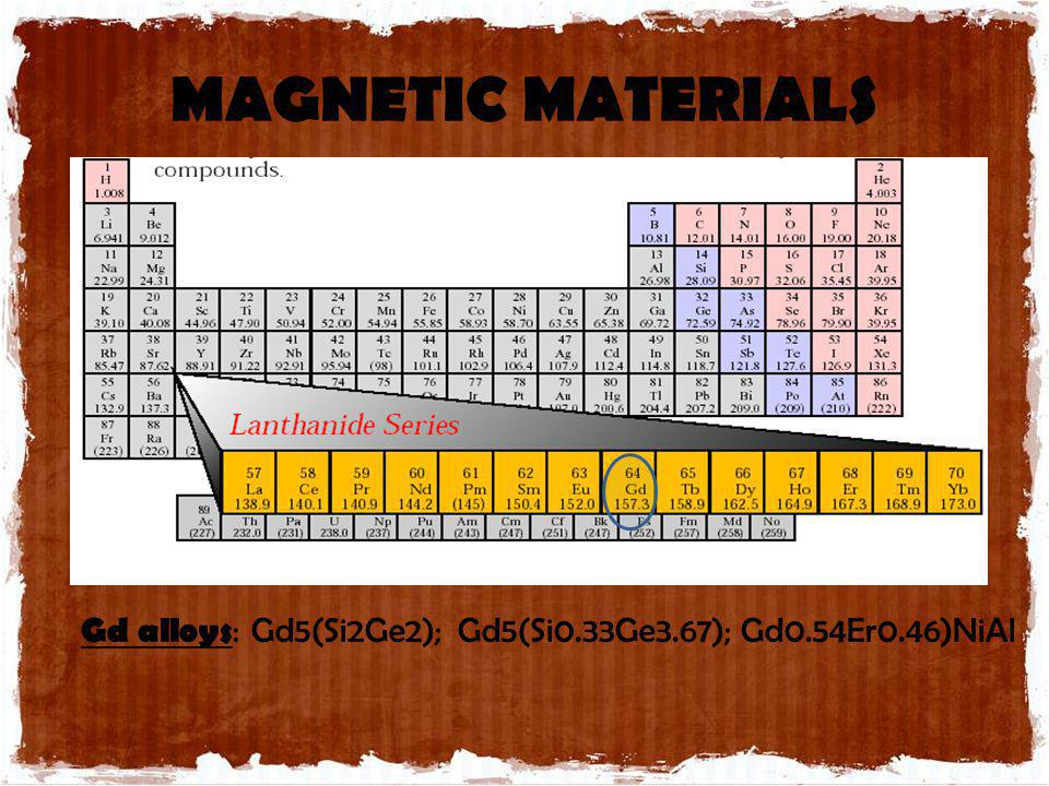 MAGNETIC MATERIALS Gd alloys : Gd5(Si2Ge2); Gd5(Si0.33Ge3.67); Gd0.54Er0.46)NiAl