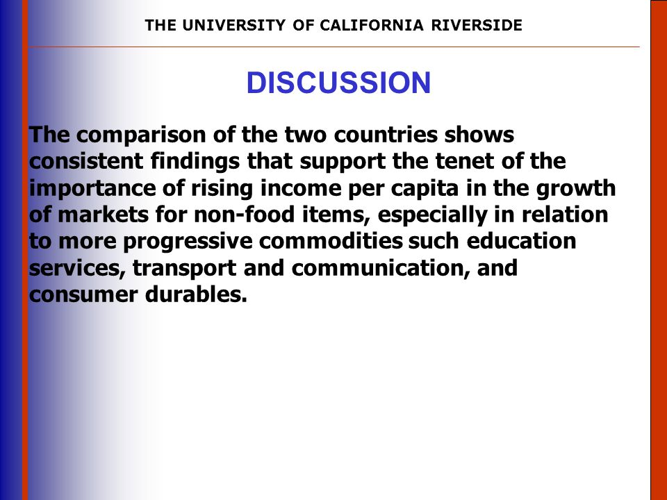 THE UNIVERSITY OF CALIFORNIA RIVERSIDE The University of Mississippi Institute for Advanced Education in Geospatial Science DISCUSSION The comparison