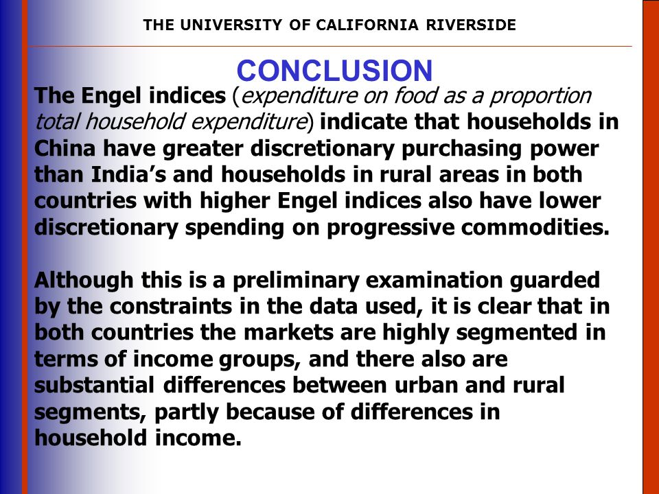 THE UNIVERSITY OF CALIFORNIA RIVERSIDE The University of Mississippi Institute for Advanced Education in Geospatial Science CONCLUSION The Engel indic