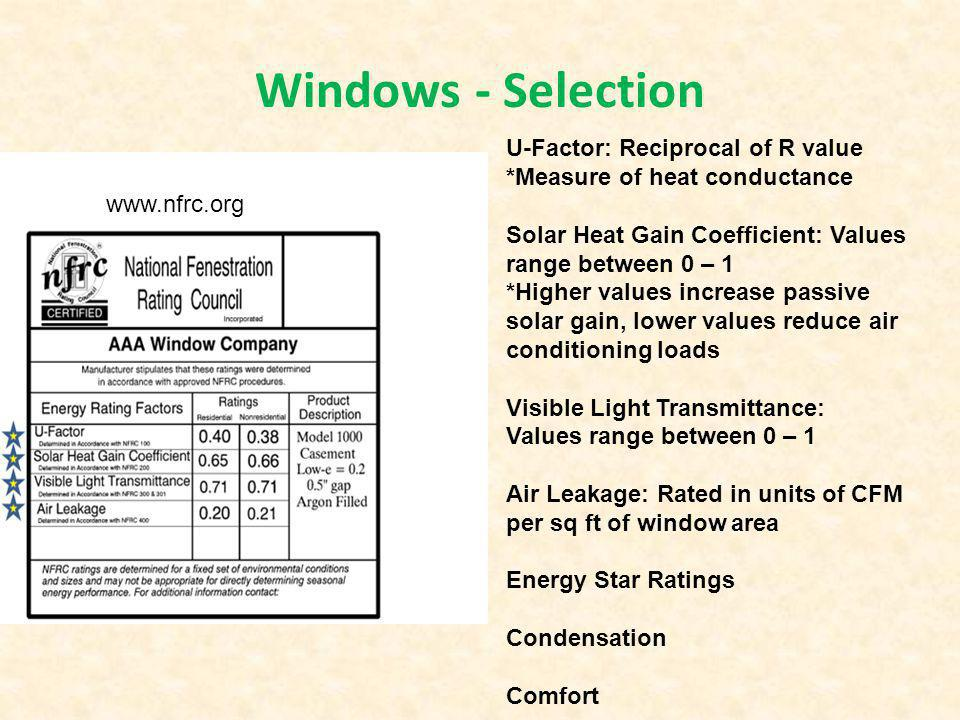 Windows - Selection U-Factor: Reciprocal of R value *Measure of heat conductance Solar Heat Gain Coefficient: Values range between 0 – 1 *Higher value