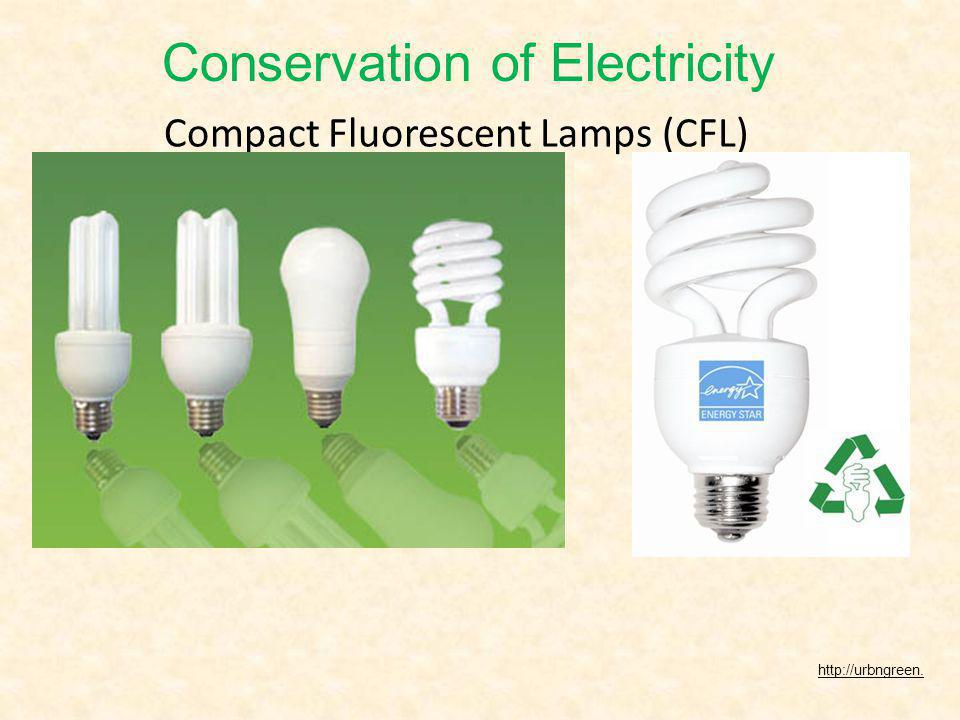 Compact Fluorescent Lamps (CFL) http://urbngreen. Conservation of Electricity