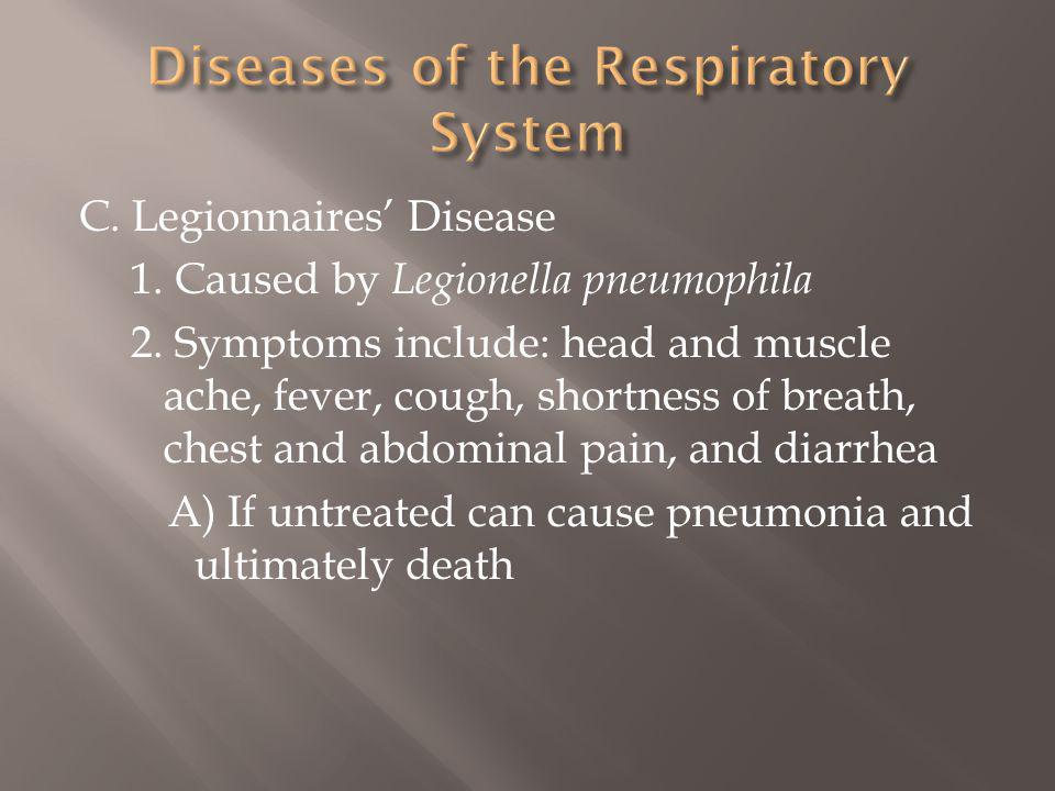 C.Legionnaires Disease 1. Caused by Legionella pneumophila 2.