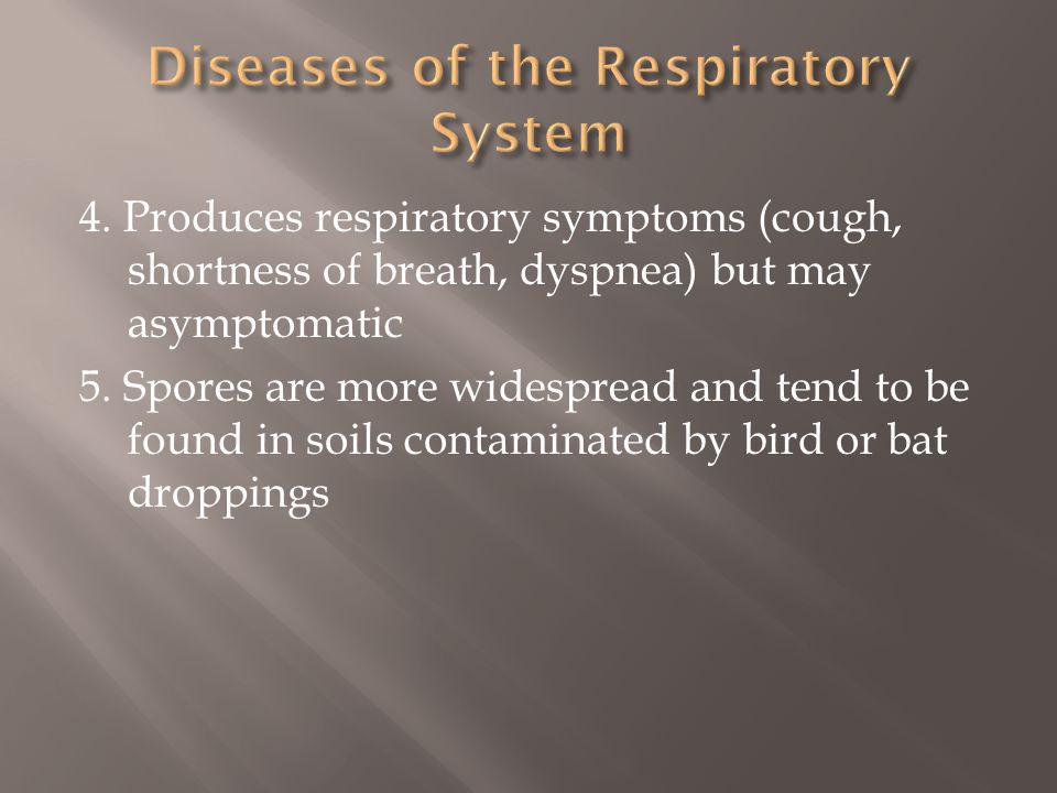 4.Produces respiratory symptoms (cough, shortness of breath, dyspnea) but may asymptomatic 5.