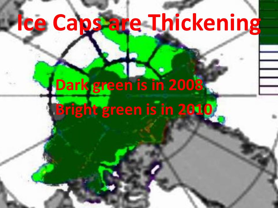 Ice Caps are Thickening Dark green is in 2008 Bright green is in 2010