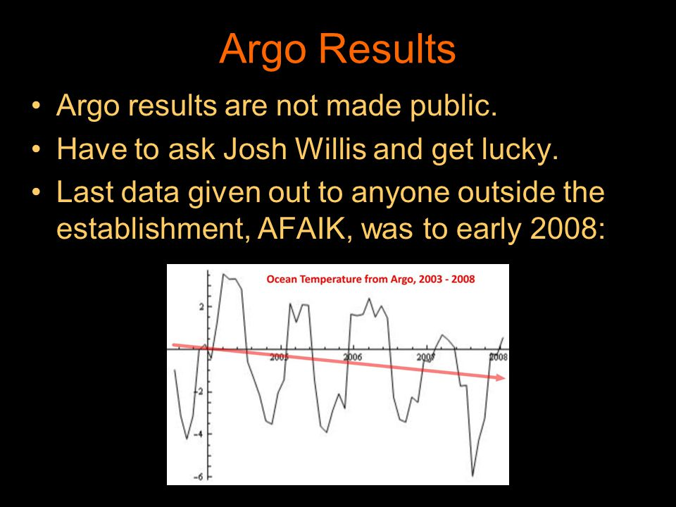 Argo Results Argo results are not made public. Have to ask Josh Willis and get lucky. Last data given out to anyone outside the establishment, AFAIK,