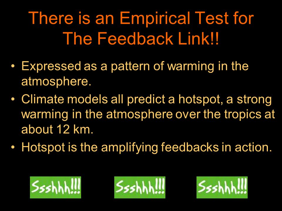 There is an Empirical Test for The Feedback Link!! Expressed as a pattern of warming in the atmosphere. Climate models all predict a hotspot, a strong