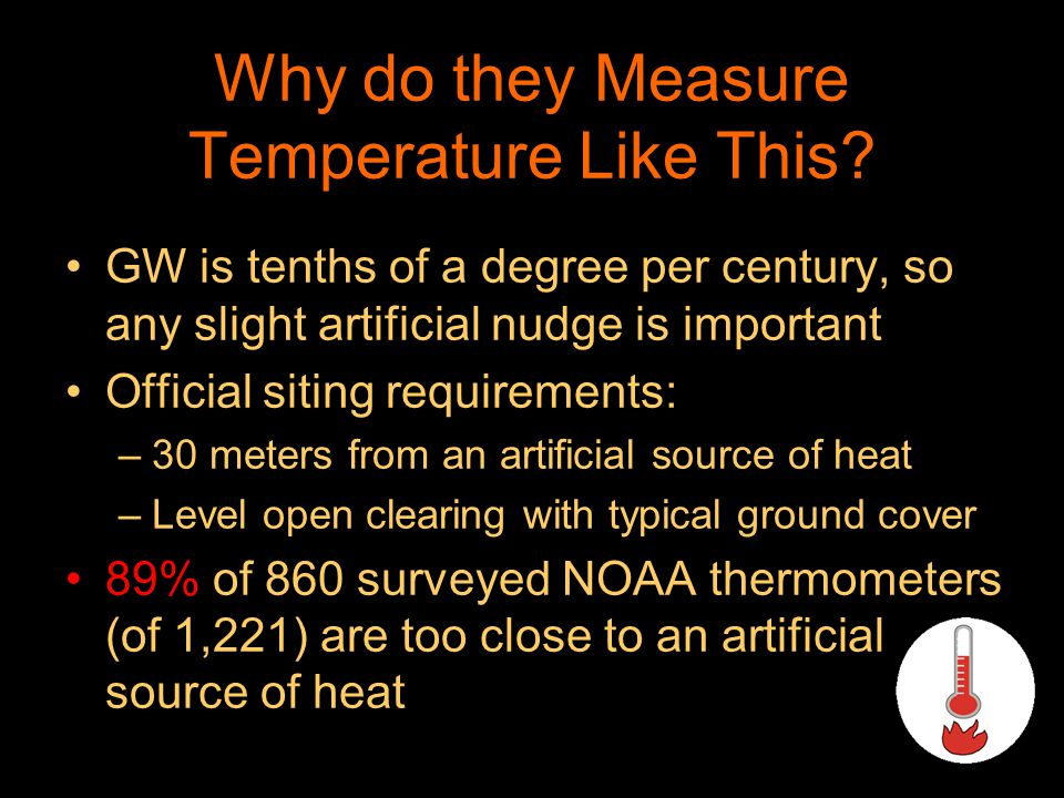 Why do they Measure Temperature Like This? GW is tenths of a degree per century, so any slight artificial nudge is important Official siting requireme