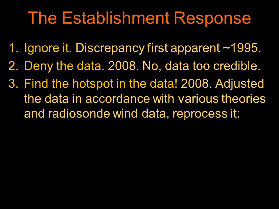 The Establishment Response 1.Ignore it. Discrepancy first apparent ~1995.