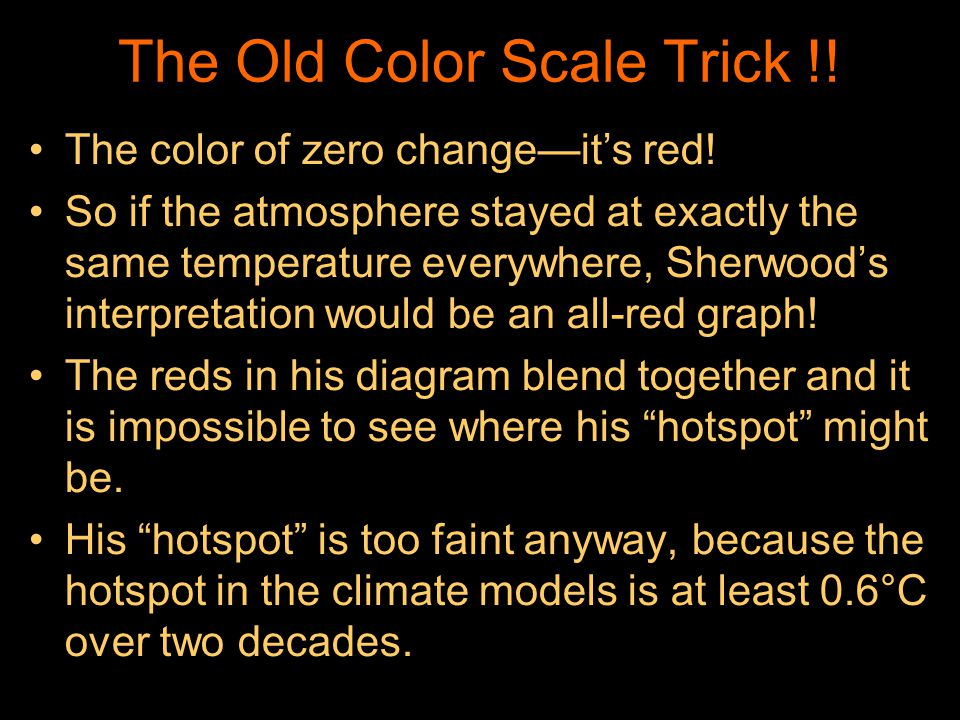 The Old Color Scale Trick !! The color of zero changeits red! So if the atmosphere stayed at exactly the same temperature everywhere, Sherwoods interp