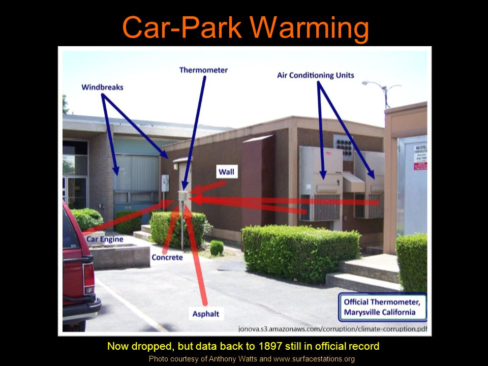 Car-Park Warming Now dropped, but data back to 1897 still in official record Photo courtesy of Anthony Watts and www.surfacestations.org