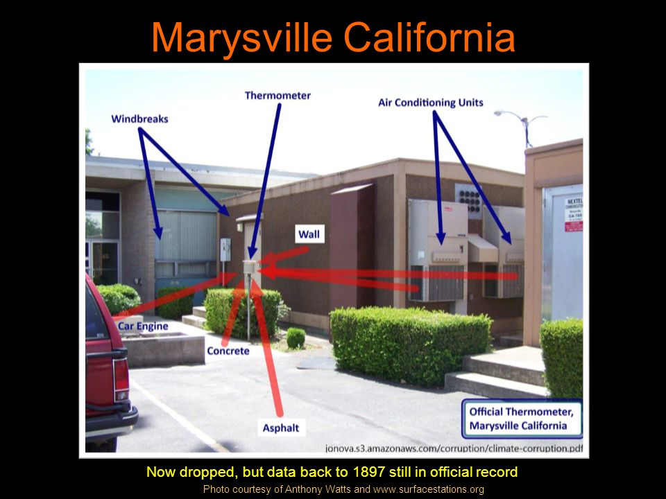 Marysville California The view from near the air conditioner exhausts Photo courtesy of Anthony Watts and www.surfacestations.org