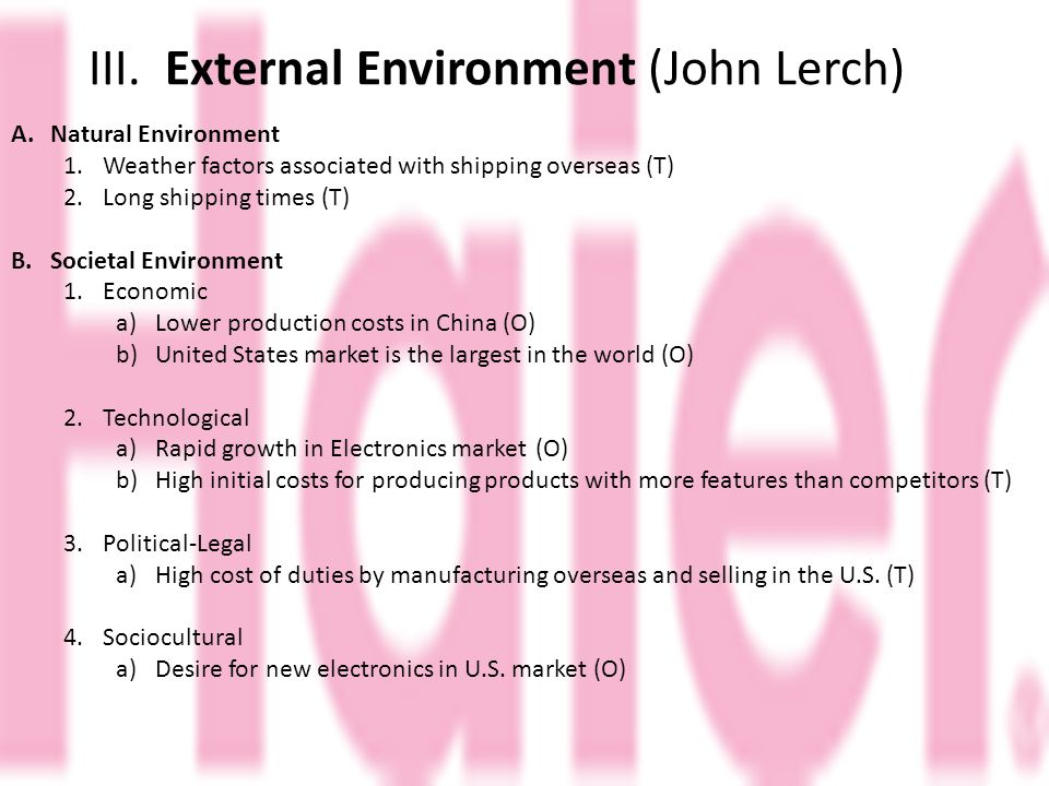 III. External Environment (John Lerch) A.Natural Environment 1.Weather factors associated with shipping overseas (T) 2.Long shipping times (T) B.Socie