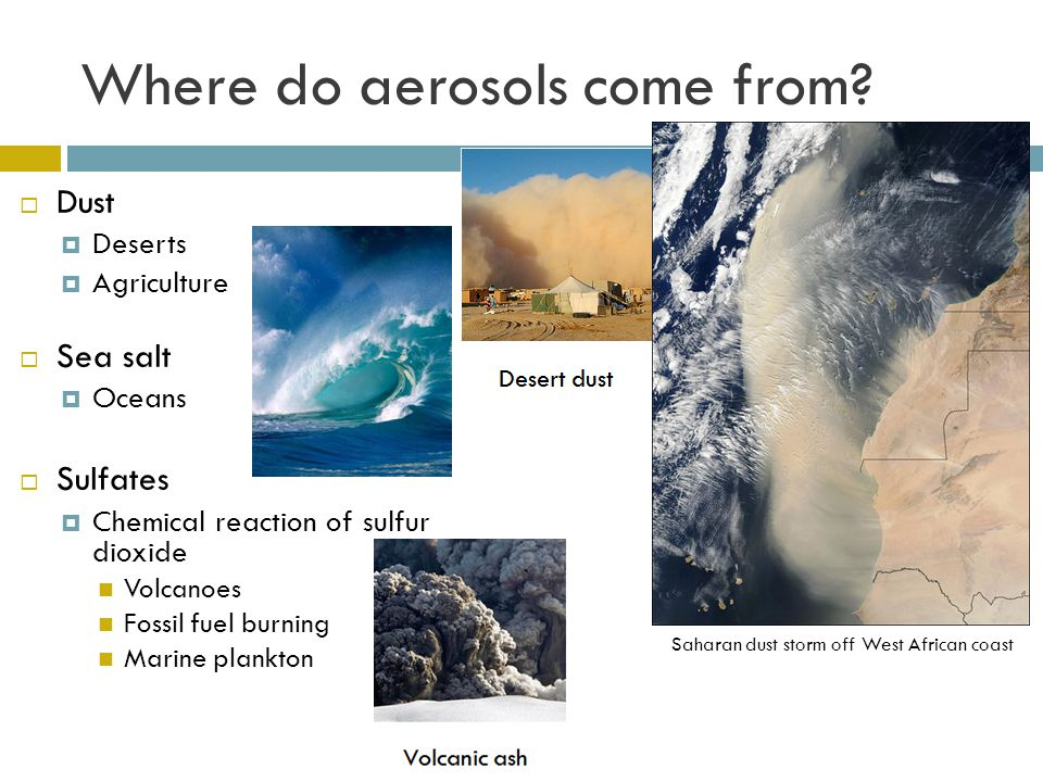 Where do aerosols come from? Dust Deserts Agriculture Sea salt Oceans Sulfates Chemical reaction of sulfur dioxide Volcanoes Fossil fuel burning Marin