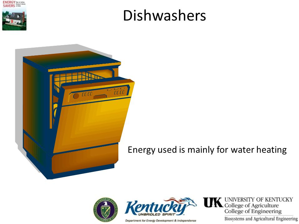 Dishwashers Energy used is mainly for water heating