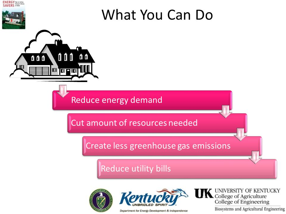 What You Can Do Reduce energy demandCut amount of resources neededCreate less greenhouse gas emissionsReduce utility bills