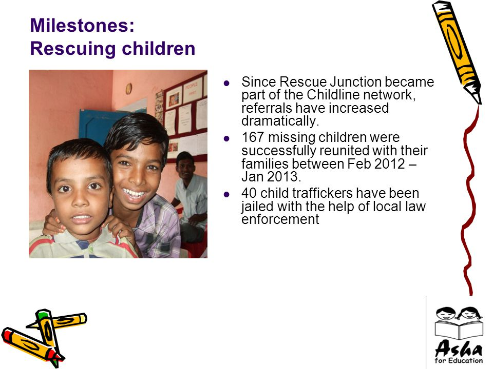 Milestones: Rescuing children Since Rescue Junction became part of the Childline network, referrals have increased dramatically.