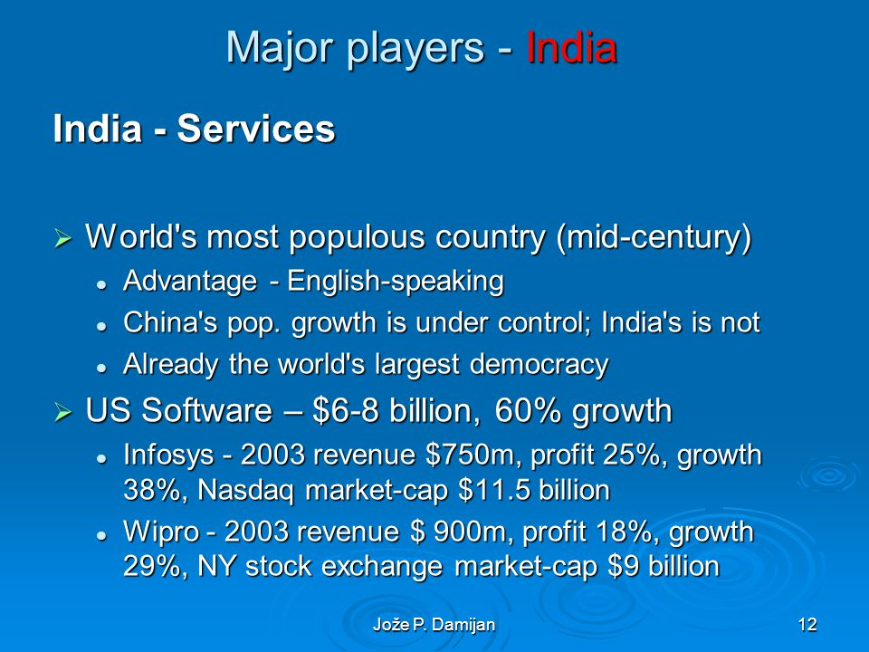 Jože P. Damijan12 Major players - India India - Services World's most populous country (mid-century) World's most populous country (mid-century) Advan