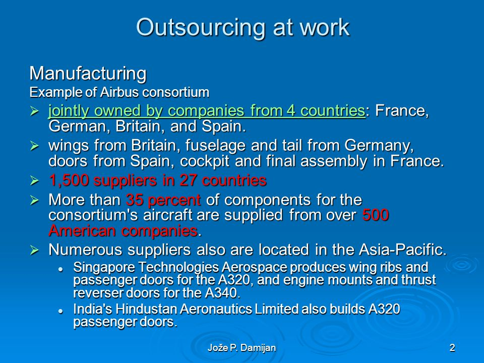 Jože P. Damijan2 Outsourcing at work Manufacturing Example of Airbus consortium jointly owned by companies from 4 countries: France, German, Britain,