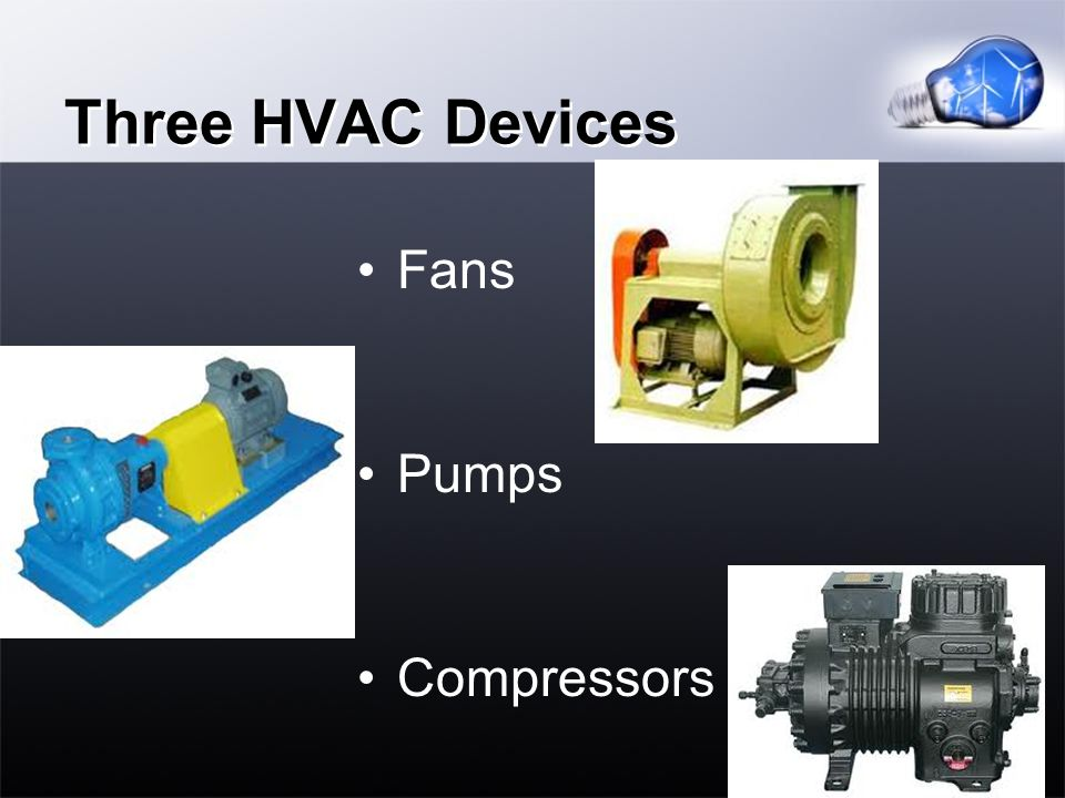 Three HVAC Devices Fans Pumps Compressors