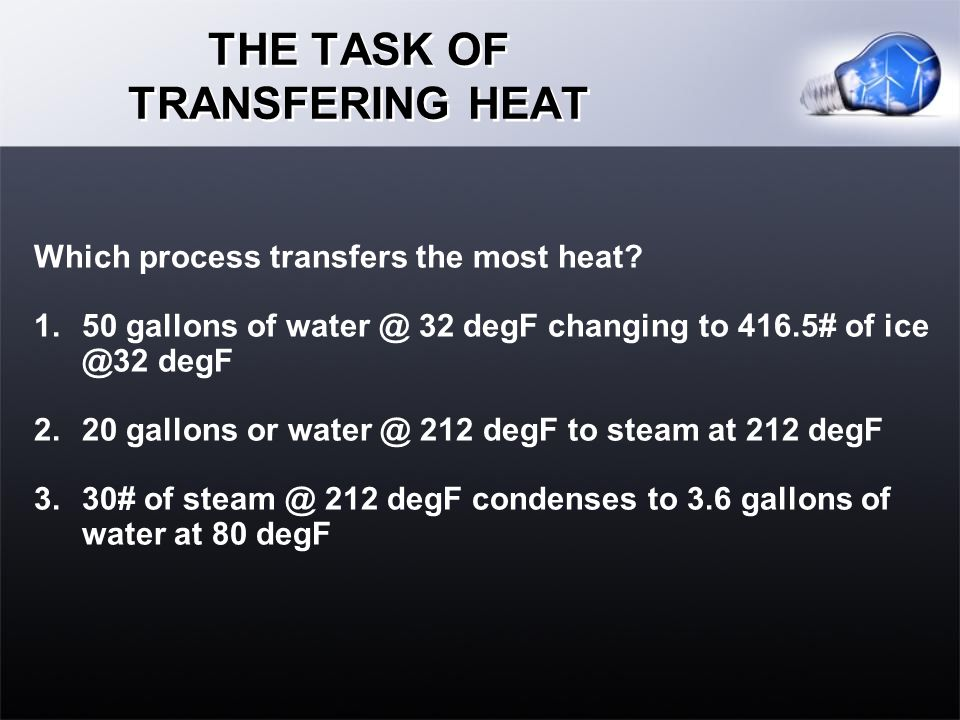 THE TASK OF TRANSFERING HEAT Which process transfers the most heat.