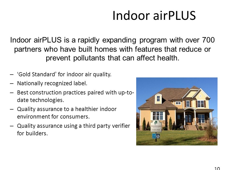 Indoor airPLUS –Gold Standard for indoor air quality.