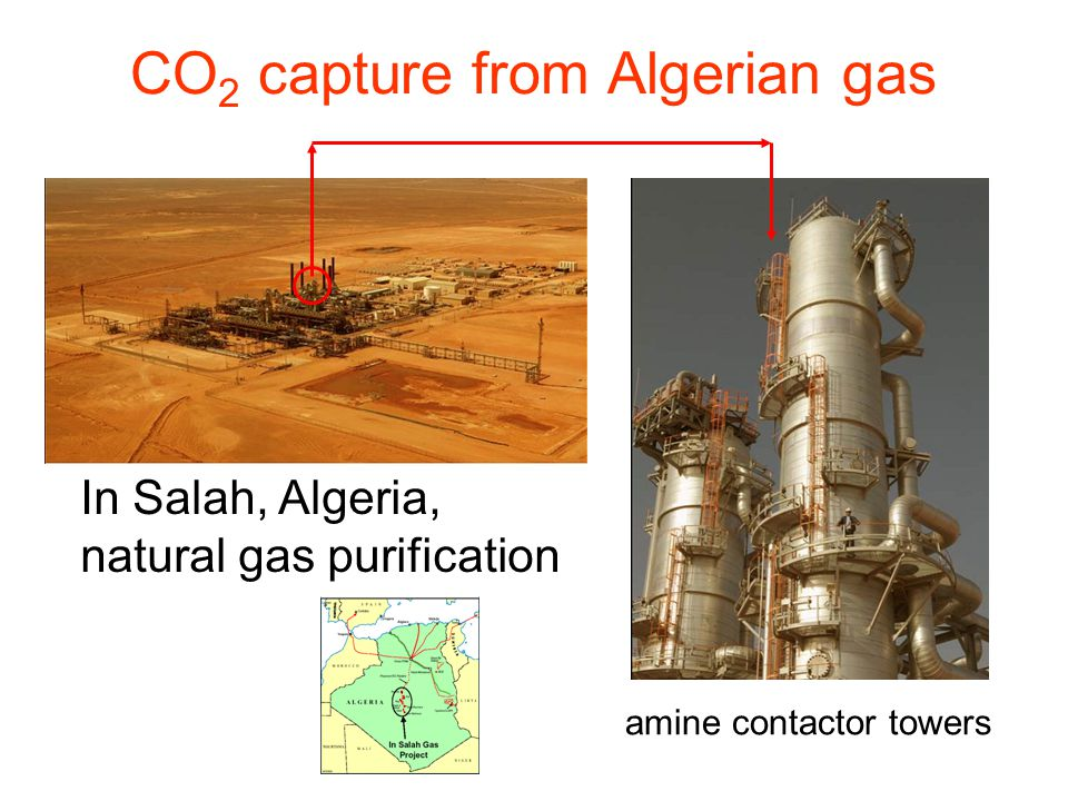 CO 2 capture from Algerian gas In Salah, Algeria, natural gas purification amine contactor towers