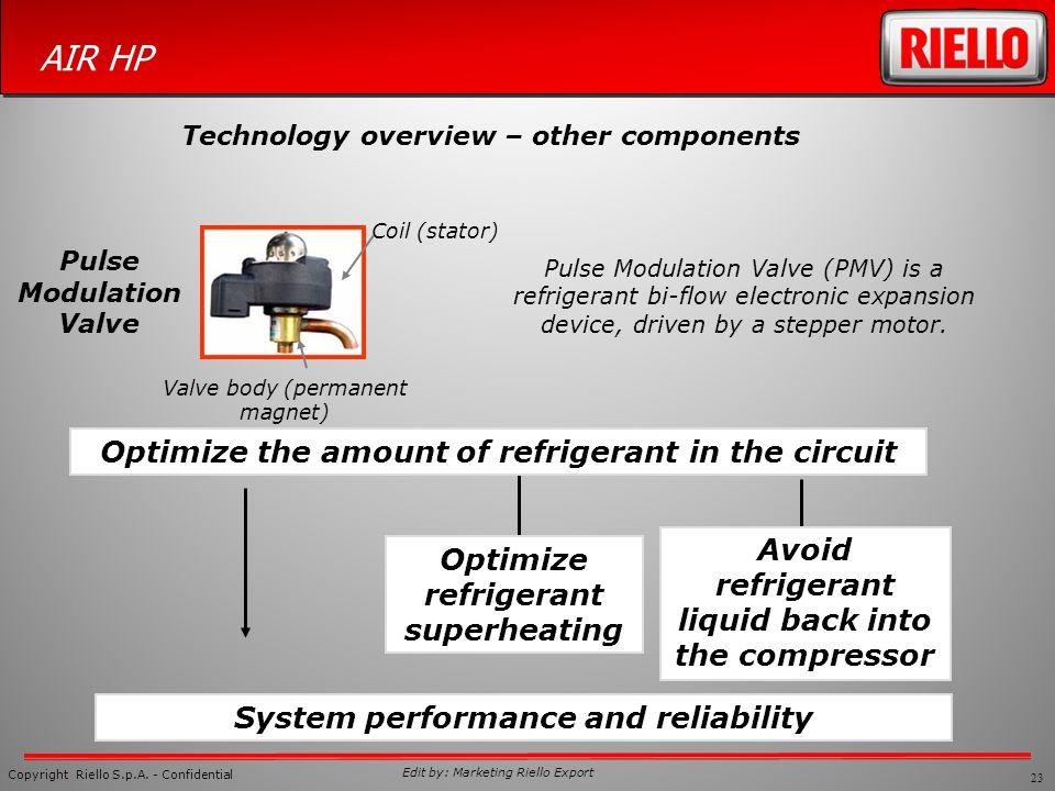 23 Copyright Riello S.p.A. - Confidential AIR HP Edit by: Marketing Riello Export Pulse Modulation Valve (PMV) is a refrigerant bi-flow electronic exp