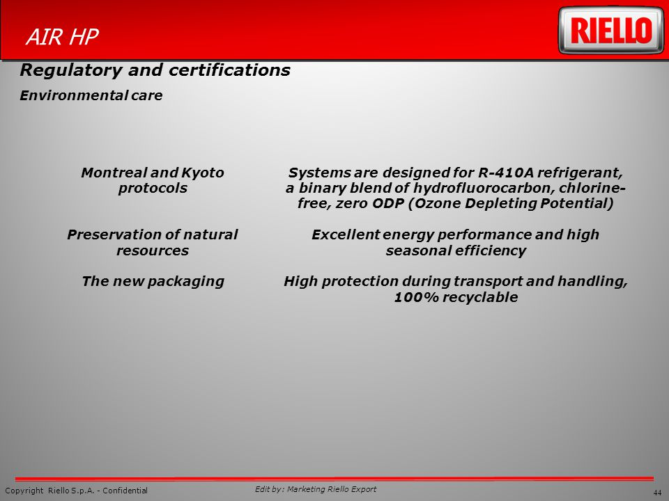 44 Copyright Riello S.p.A. - Confidential AIR HP Edit by: Marketing Riello Export Systems are designed for R-410A refrigerant, a binary blend of hydro