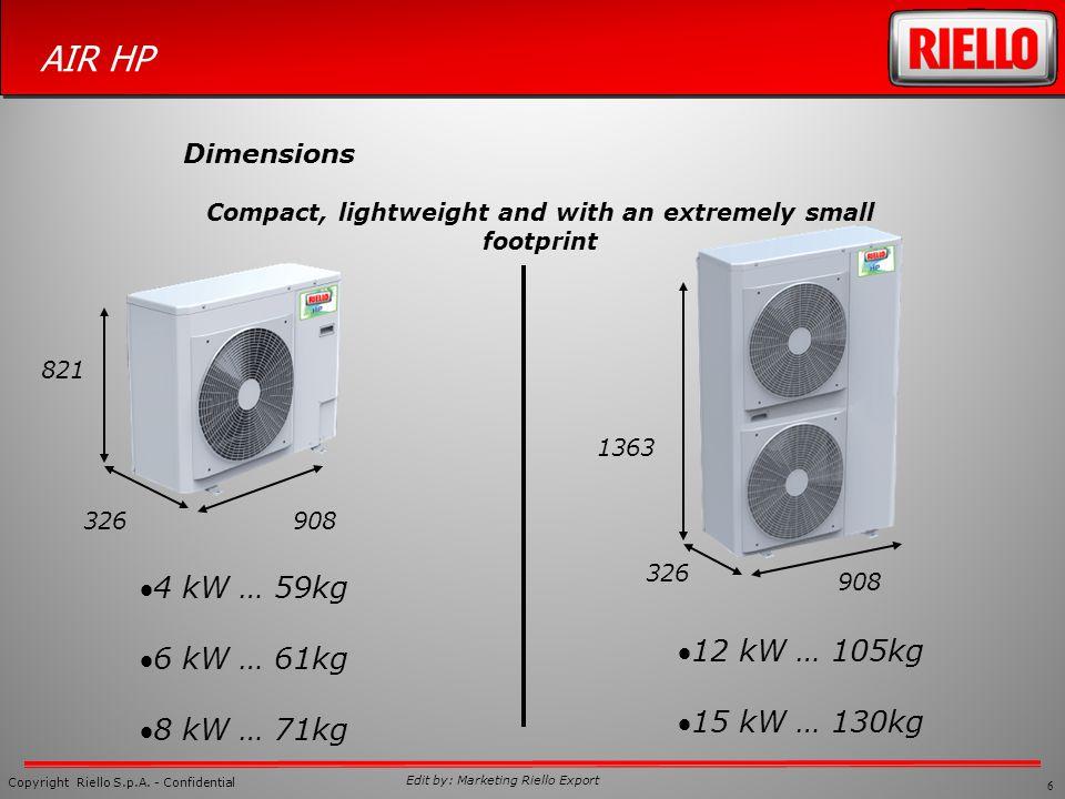 6 Copyright Riello S.p.A. - Confidential AIR HP Edit by: Marketing Riello Export Dimensions 821 908326 4 kW … 59kg 6 kW … 61kg 8 kW … 71kg 12 kW … 105