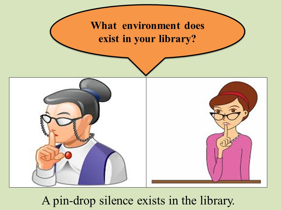 What environment does exist in your library? A pin-drop silence exists in the library.