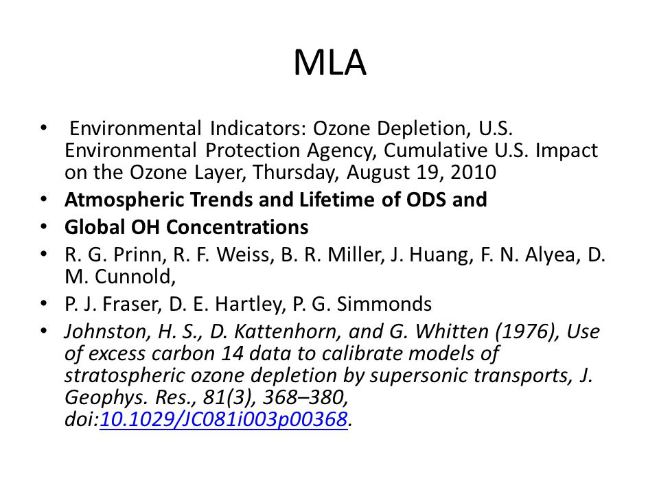 MLA Environmental Indicators: Ozone Depletion, U.S. Environmental Protection Agency, Cumulative U.S. Impact on the Ozone Layer, Thursday, August 19, 2