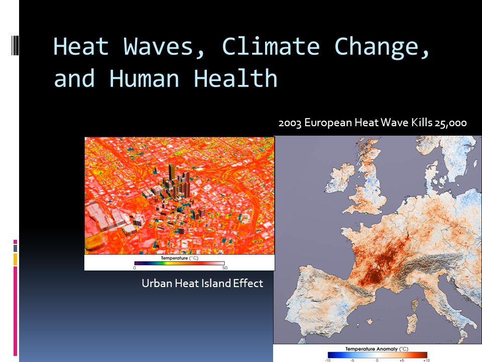 Heat Waves, Climate Change, and Human Health Urban Heat Island Effect 2003 European Heat Wave Kills 25,000