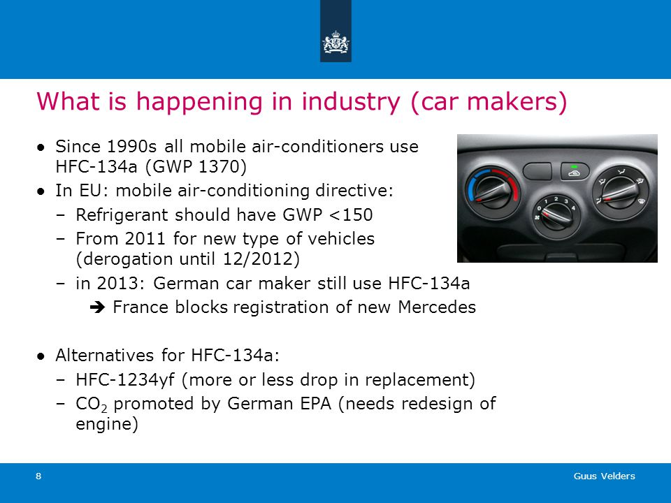 Guus Velders 8 What is happening in industry (car makers) Since 1990s all mobile air-conditioners use HFC-134a (GWP 1370) In EU: mobile air-conditioni