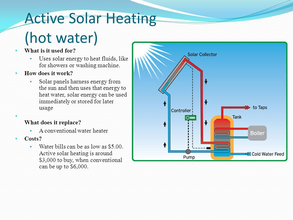 Active Solar Heating (hot water) What is it used for? Uses solar energy to heat fluids, like for showers or washing machine. How does it work? Solar p