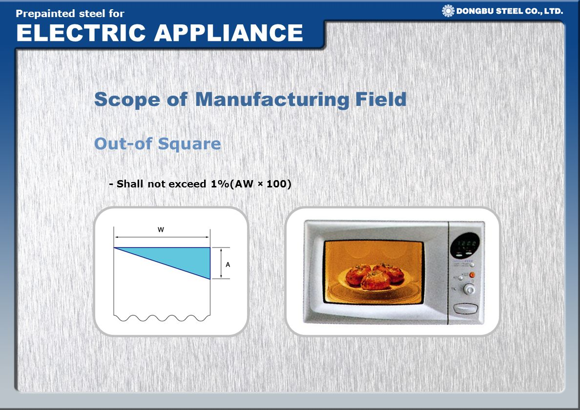 Prepainted steel for ELECTRIC APPLIANCE Out-of Square Scope of Manufacturing Field - Shall not exceed 1%(AW × 100)