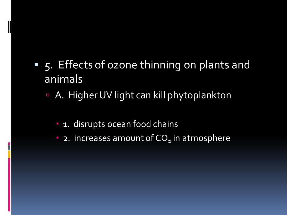 5. Effects of ozone thinning on plants and animals A. Higher UV light can kill phytoplankton 1. disrupts ocean food chains 2. increases amount of CO 2