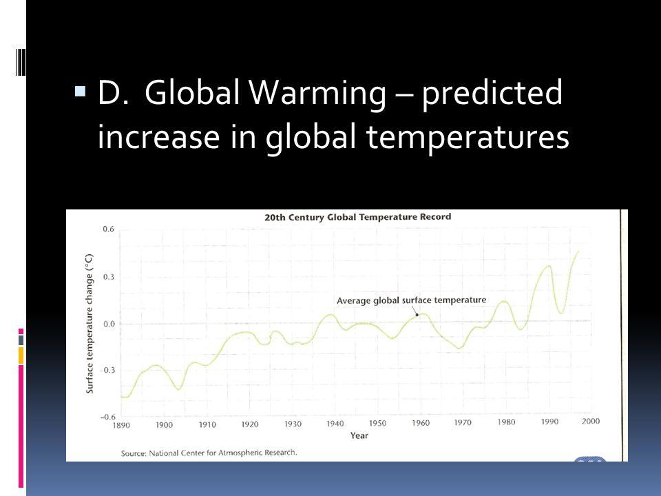 D. Global Warming – predicted increase in global temperatures