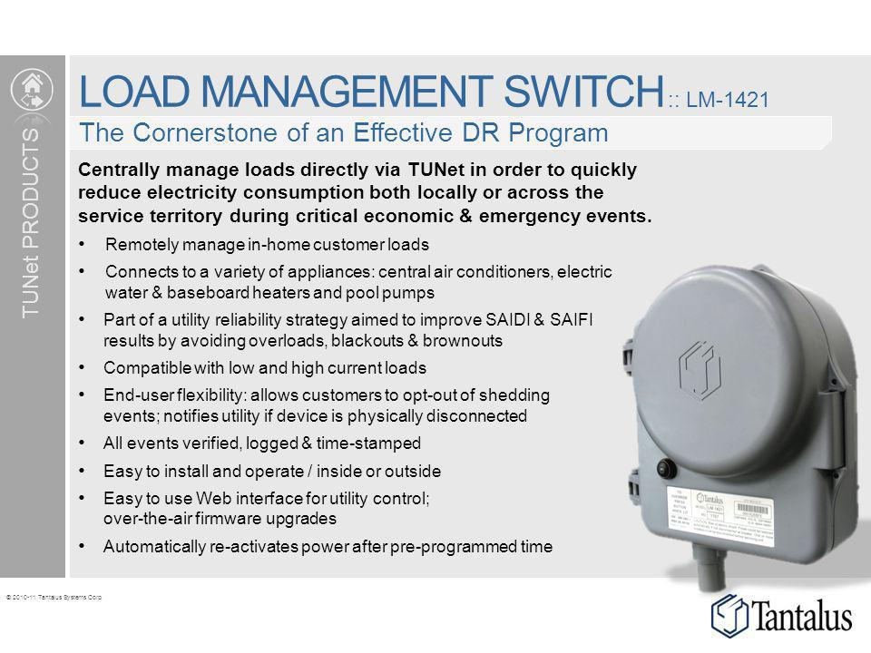 © 2010-11 Tantalus Systems Corp. LOAD MANAGEMENT SWITCH :: LM-1421 The Cornerstone of an Effective DR Program TUNet PRODUCTS Centrally manage loads di