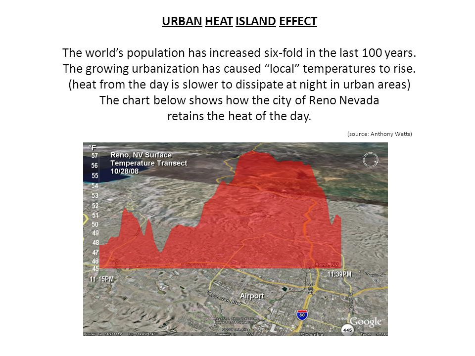 URBAN HEAT ISLAND EFFECT The worlds population has increased six-fold in the last 100 years. The growing urbanization has caused local temperatures to