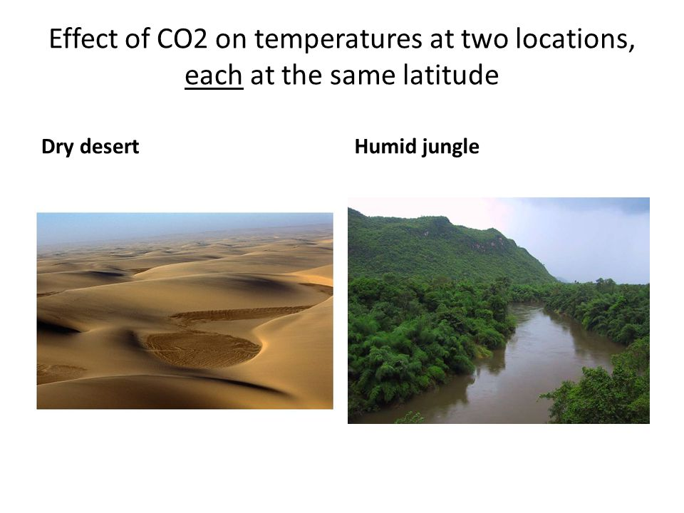 Effect of CO2 on temperatures at two locations, each at the same latitude Dry desertHumid jungle