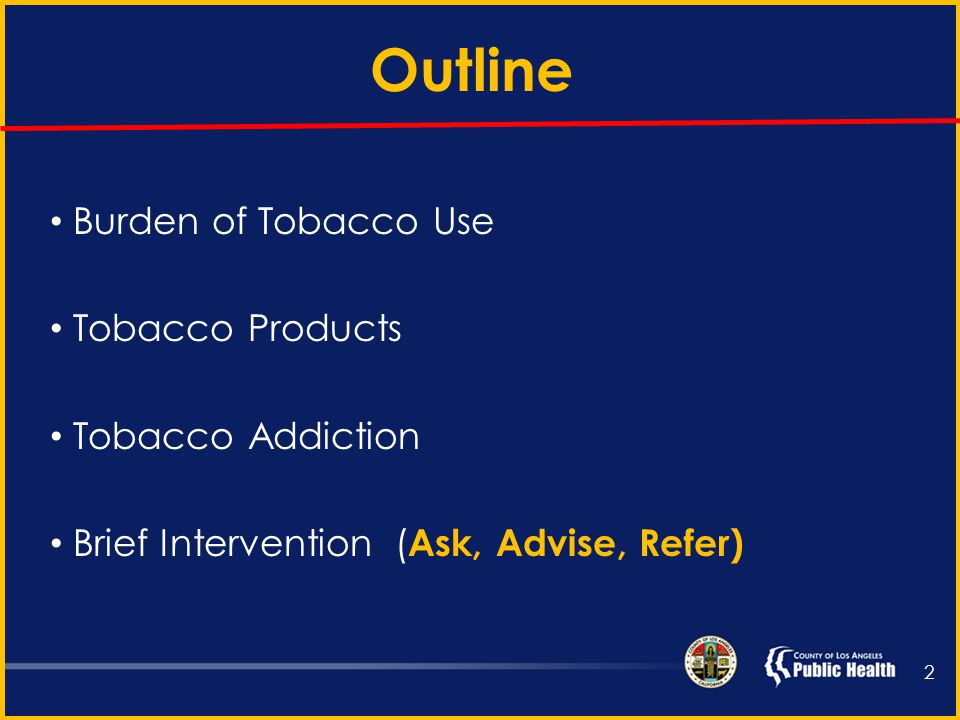 Brief Tobacco Interventions for Opioid Maintenance Providers Susan Bradshaw, MD, MPH Tobacco Control and Prevention Program September 18, 2013 Los Angeles County Department of Public Health Chronic Disease and Injury Prevention Division