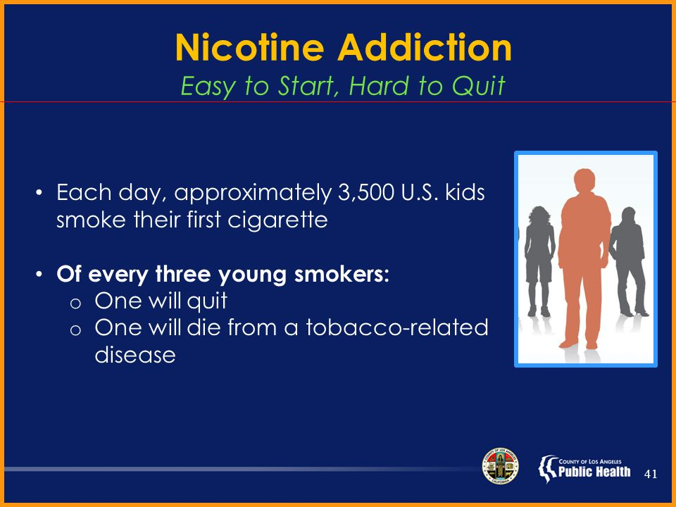 Nicotine Addiction Easy to Start, Hard to Quit In general: Ninety percent of smokers began using tobacco before age 18 Smokers often relapse because of stress, weight gain, and withdrawal symptoms Numerous quit attempts are usually necessary to stop successfully 40