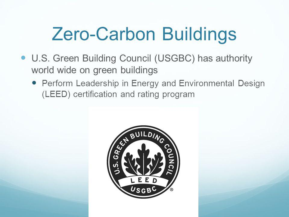 Zero-Carbon Buildings U.S. Green Building Council (USGBC) has authority world wide on green buildings Perform Leadership in Energy and Environmental D