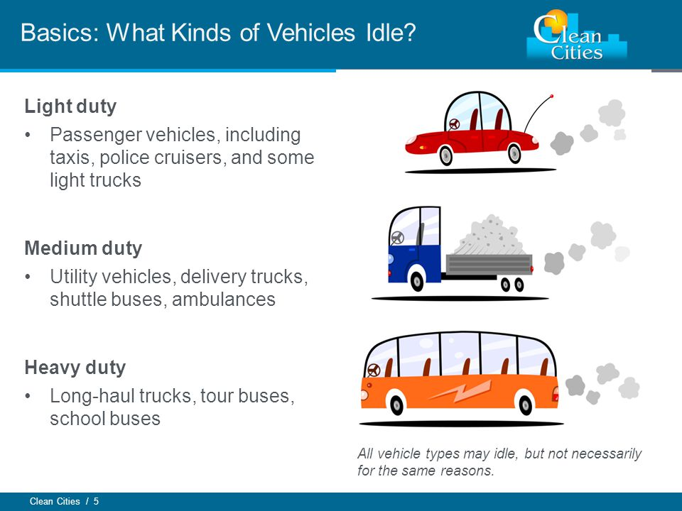 Clean Cities / 5 Basics: What Kinds of Vehicles Idle? Light duty Passenger vehicles, including taxis, police cruisers, and some light trucks Medium du